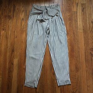 High Waist Sash Striped Pant
